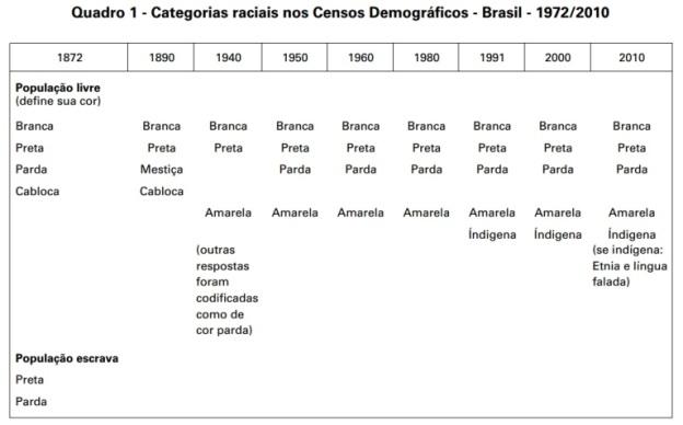 Quadro IBGE raças Censo